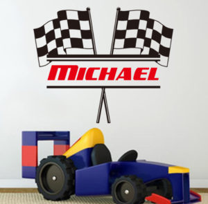 Racing Checkered Flag with Personalized Name