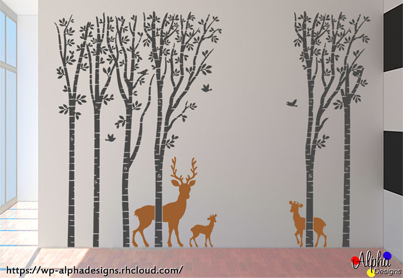 wall art decal: wall decal: large woodland theme with deers | alpha