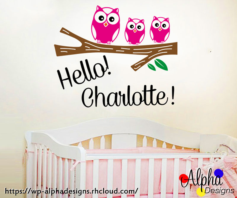 Kids wall decal stickers personalised name hello owls girl
