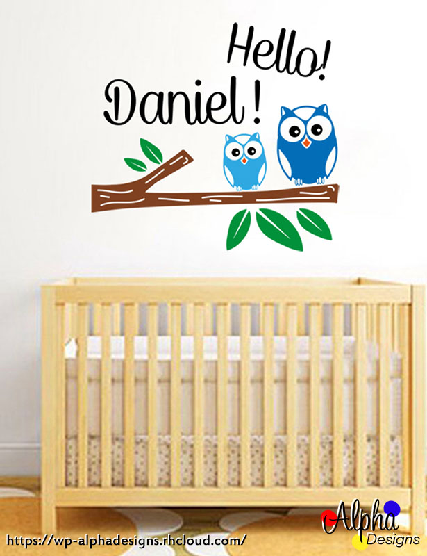 Kids wall decal stickers personalised name hello owls boy