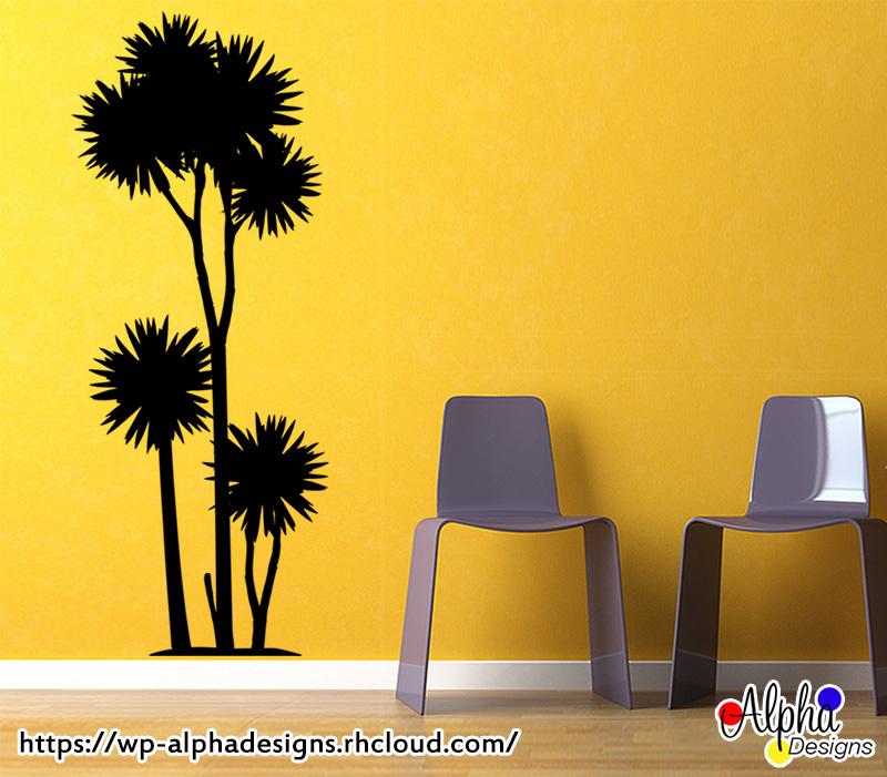 Wall Art Decal: Wall Art Decal – NZ Cabbage Tree (1.5M)   Alpha Designs
