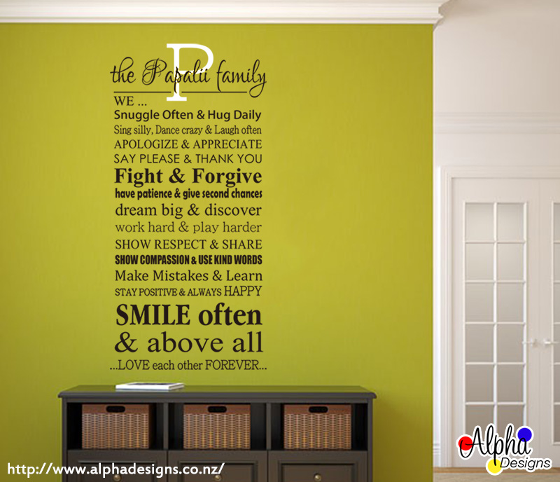 Art Decal: Family Rules Monogram – Personalized Wall Decor | Alpha ...