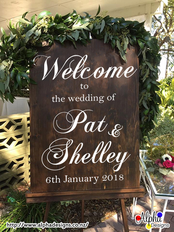 Personalised Welcome Wedding Decal For Board Alpha Designs