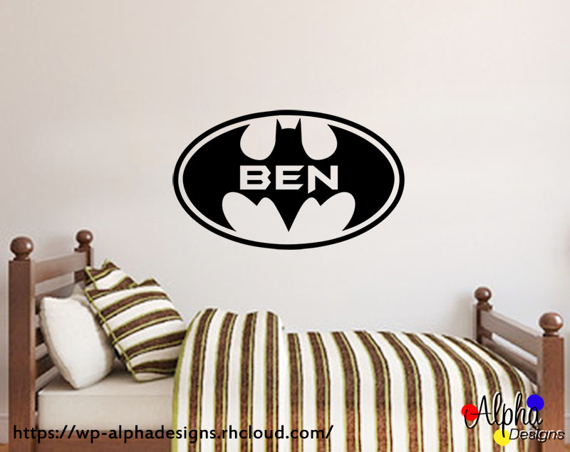 Kids room wall art decor personalised name decal batman 1
