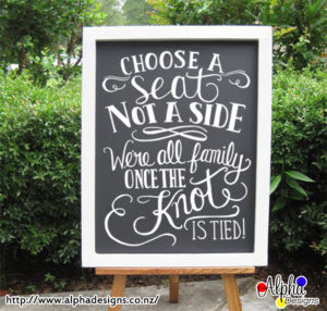 Choose a seat, not a side - wedding decal