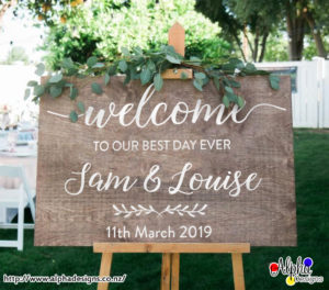 Decal Personalised Welcome Wedding Sticker Sign With Names And Date For Wood Board Not Included
